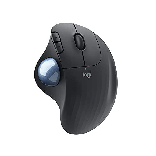 Logitech ERGO M575 Wireless Trackball Mouse, Easy thumb control, Precision and smooth tracking, Ergonomic comfort design, Windows/Mac, Bluetooth, USB - Graphite (Renewed)