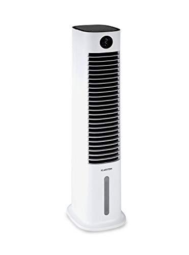 Klarstein Skytower Grand Smart - Enfriador de aire, Purificador, Humidificador, Wifi, Control por App, Caudal de aire 480 m³/h, Potencia 80 W, Depósito 8 L, 2 acumuladores de frío, Oscilación, Blanco