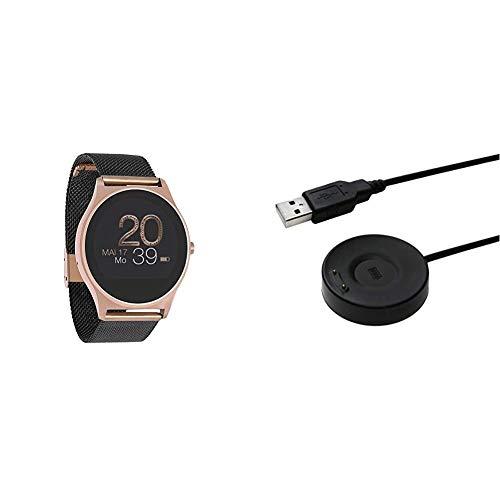 X-WATCH 54030 JOLI XW PRO - Smartwatch Damen iOS / Android - Fitnessuhr mit WhatsApp Info Samtschwarz & Ladekabel für X-WATCH SIONA XW FIT