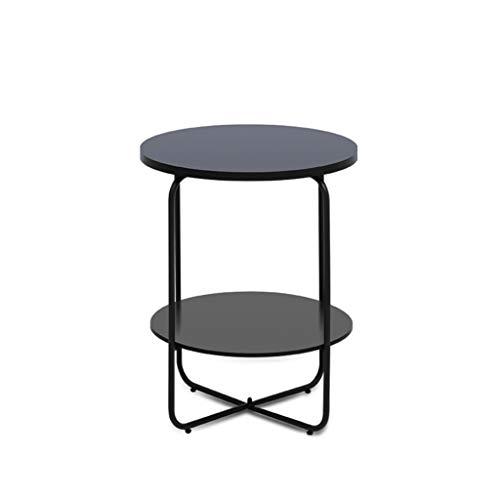 ZHANYI salontafel, ronde bank zijtafel, 2 Tie Organizer plank, nachtkastje hoek tafels, stalen rug, voor woonkamer, slaapkamer