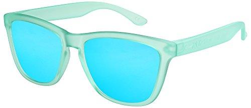 X-CRUZE 9-064 Nerd Sonnenbrillen polarisiert Style Retro Vintage Retro Unisex Herren Damen - hellgrün-türkis-transparent matt/hellblau verspiegelt