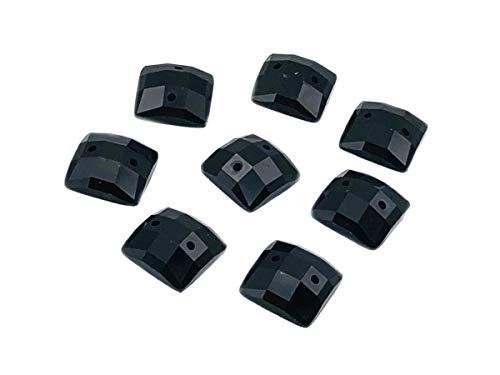 Eimass® Strasssteine/Glitzersteine, quadratisch, zum Aufnähen- oder Aufkleben, flache Rückseite, für Kostüme Gr. 14 mm, Jet Black (100 Pieces)
