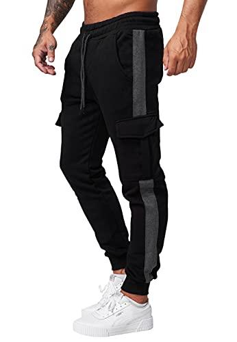 Code47 Pantalones de chándal para hombre, negro, gris, XXL