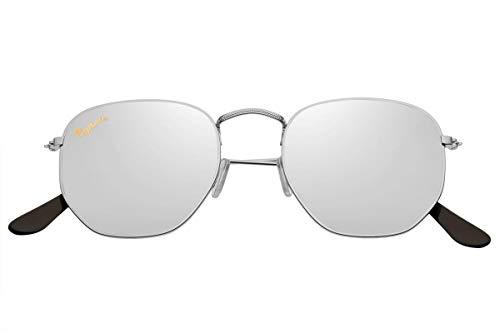 Capraia Lacrima Fancy Hexagon Sonnenbrille Silberner Metallrahmen und Silber Verspiegelte Gläser UV400 Schutz für Männer und Frauen