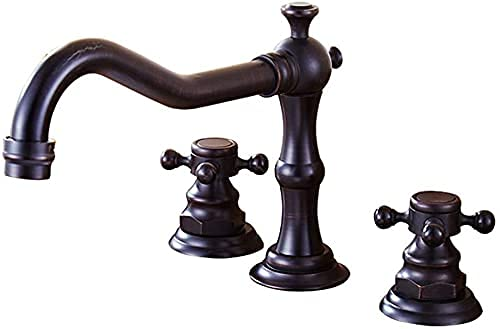 ZDZHT Retro Negro Mezclador de Lavabo de 3 Orificios Grifo de Lavabo de baño Mezclador de Dos manijas Mezclador de Lavabo Grifo de baño Soporte de Montaje para baño Hecho de latón