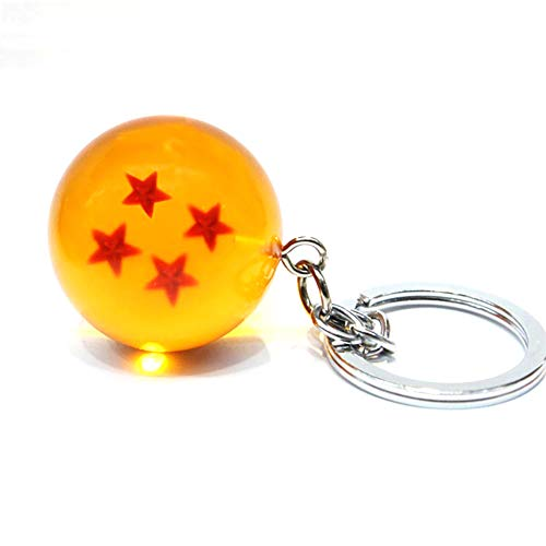 1pc Dragon Ball Portachiavi Ciondolo Appeso Resina Star Palline Trasparenti Catena Chiave (Diametro 1,37 Pollici con 3 Stelle)