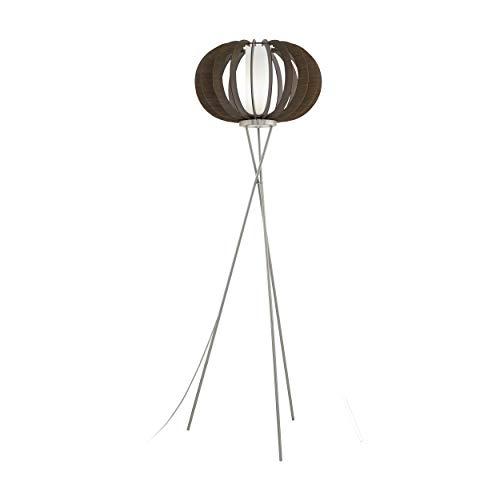 EGLO Lámpara de pie Stellato 3, 1 luz de pie vintage, lámpara de pie de acero, madera y cristal, lámpara de salón en níquel mate, marrón, blanco, lámpara con interruptor, casquillo E27