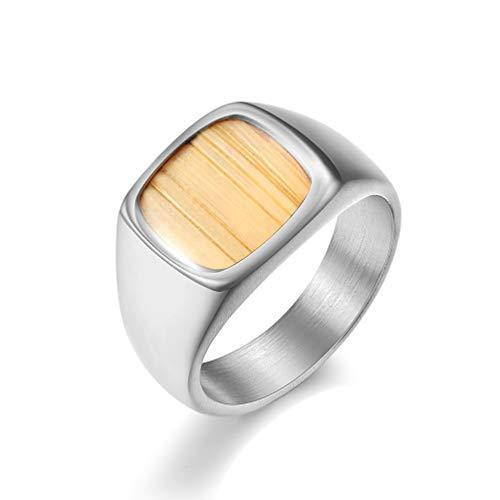 AOUVIK Titan polierte abgeschrägte Kanten Holz Inlay Herren Ehering, 18 Karat Gold Intarsien Furnier Mode Herren Ring - 5,5 mm,Silber,7
