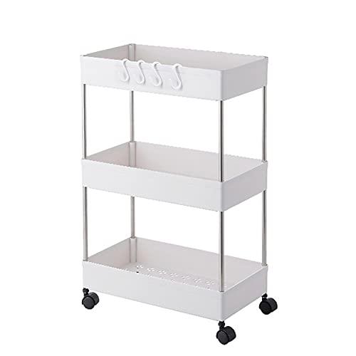 Beowanzk Servierwagen mit Rollen, platzsparend, Edelstahl, für Küche / Badezimmer, 60 cm