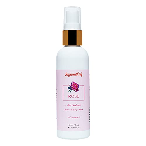 Sugandhim Air Freshener Spray Rose (Gulab), 1 x 100 ml, Aerosol, 100% Ganga Water Based, Exotic Floral Fragrance, Chemical Free, Non-Alcoholic, Pleasant Odor, Used in Bedroom, Bathroom, Hall, Temple, Office Etc, Made In India