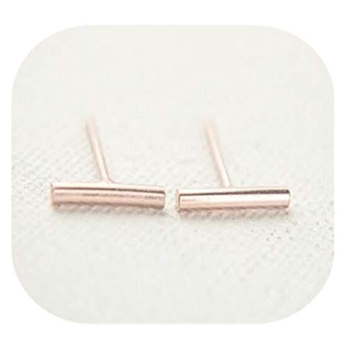 yichahu Pendientes de aleación de moda anillo combinación simple de una palabra en forma de pendientes de joyería accesorios de oro rosa