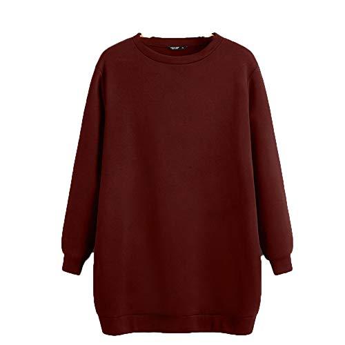 ZFQQ Otoño e Invierno Mujer Salvaje Suelta Gran tamaño Cuello Redondo Manga Larga suéter Vestido