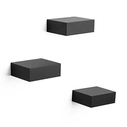 Ballucci Floating Wall Shelves, Set of 3 Decorative Display Corner and Organizer Rack with Hidden Bracket, Easy Installation, Black
