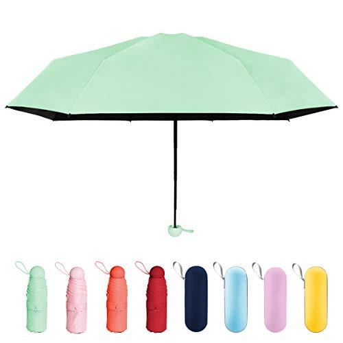 折り畳み傘 日傘 uvカット 晴雨兼用 超軽量 超撥水 超小型 携帯しやすい 遮光遮熱 耐強風 梅雨対策 ジッパーケース付き レディース (ミントグリーン)
