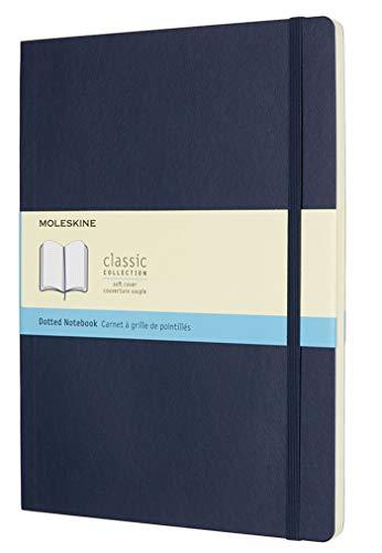Moleskine Notebook Classic Pagina Puntinata, Taccuino Copertina Morbida e Chiusura ad Elastico, Colore Blu Zaffiro, Dimensione Extra Large 19 x 25 cm, 192 Pagine
