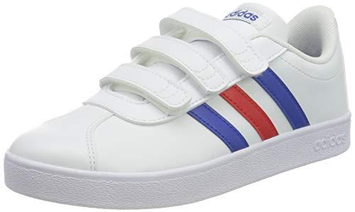 adidas VL Court 2.0 CMF C, Chaussure de Piste d'athltisme, FTWR White Team Royal Blue Vivid Red, 30 EU