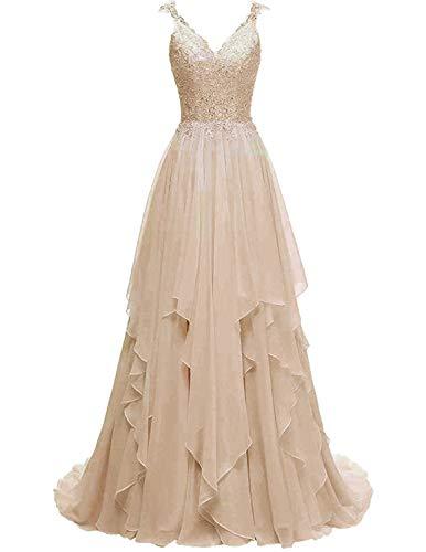 Stillluxury Brautkleid aus Spitze, Chiffon, Übergröße, Hochzeitskleid, E88 Gr. 40, champagnerfarben