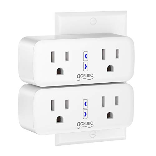 Smart Plug,Gosund WiFi Outlet Extender Dual Socket Plugs Works with Alexa Google Home,Surge Protector,Schedule and Timer, Control Independently or Together, 10A, No Hub Required, FCC Listed (2 Pack)