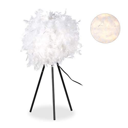 Relaxdays Federlampe, Nachttischlampe, Schlafzimmer, Kinderzimmer, modern, rund, E 27 Lampe, 10 Watt, 60 cm hoch, weiß