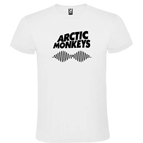 Camiseta Roly Blanca con Logotipo de Arctic Monkeys Hombre 100% Algodón Tallas S M L XL XXL Mangas Cortas (XXL)