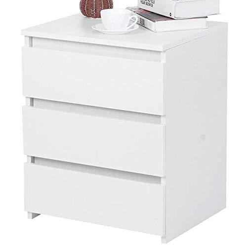 BAKAJI Comodino Camera da Letto Mobiletto Cassettiera 3 Cassetti Design Moderno in Legno MDF Colore Bianco Mobile Arredo Casa Dimensione 55 x 45 x 38 cm