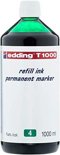 edding T1000 Permanentmarker Nachfülltinte - Inhalt: 1000ml - Farbe: grün - Tusche für edding Permanent Marker (auch edding EcoLine)