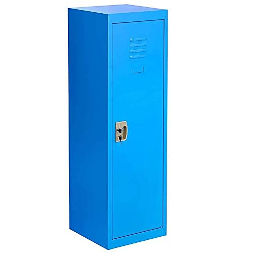 Locker for Kids Metal Locker for Bedroom,Kids Room,Steel Storage Lockers for Toys,Clothes, Sports Gear (49 Inch, Blue)