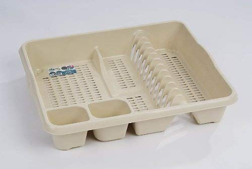 Wham High Grade Extra Large Plastic Dish Drainer Plate and Cutlery Rack in Cream