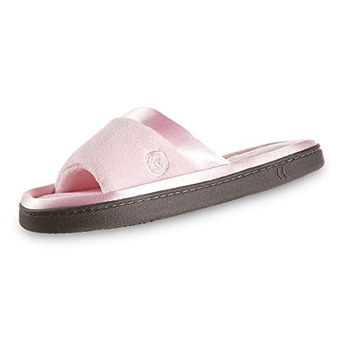 isotoner Women's Microterry Slide Slipper with Satin Trim, Peony, 7.5/8