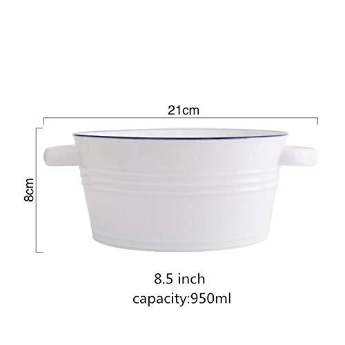 Teller Blue Line White Keramik Suppenschüssel Mit Griff Nordic Western Lebensmittelbehälter Haushalt Pasta Dessert Teller Keramik Geschirr 1Pc Msoupbo