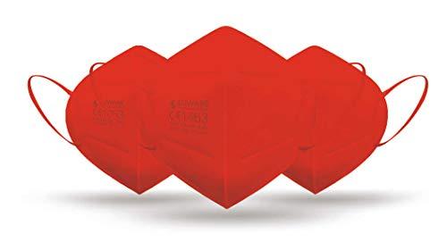 CE zertifizierte - nach EN149:2001+A1:2009 geprüfte Einweg FFP2 NR Atemschutzmaske - Rot - 5er Packung
