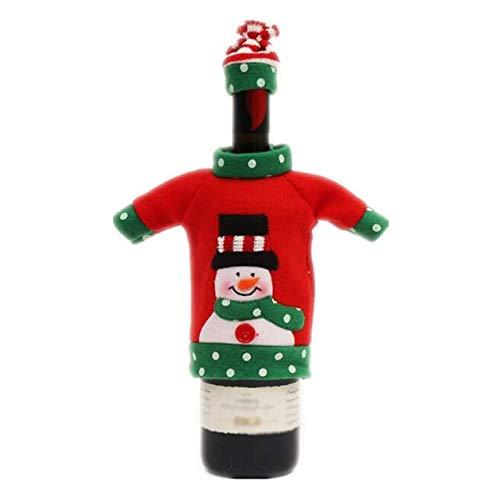 cottonlilac Cubierta de Vino de Navidad Decoración de Mesa de Cena Bolsa de Vino Tinto Tela de Tela Juego de decoración de Festival de Regalo Encantador - Rojo y Verde