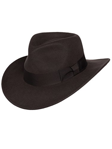 Men's Indiana Outback Fedora Hat Brown Crushable Wool Felt by Silver Canyon, Brown, Large