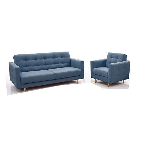 Polstergarnituren Sofa mit Sessel Schlafsofa Kippsofa Sofa mit Schlaffunktion Klappsofa Bettfunktion Couch - Scarlett (Blau)