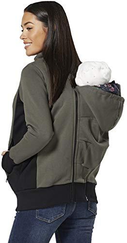 HAPPY MAMA Mutterschaft Vlies Kapuzenpullover Träger Baby Halter Pullover 1062 (Khaki, EU 38/40, M)
