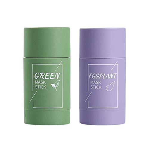 QiHong Mascarilla facial sólida, mascarilla de arcilla purificadora de berenjena con té verde, mascarilla limpiadora antiacné con control de aceite, mascarilla de desintoxicación facial