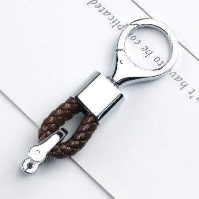 BYBDYSK Sleutelhanger Trendy Mannen Vrouwen Sleutelhangers Geweven Lederen Auto Sleutelhanger 360 Graden Roterende Hoefijzer Gesp voor Sleutelhanger Tas Hanger Koffie AS