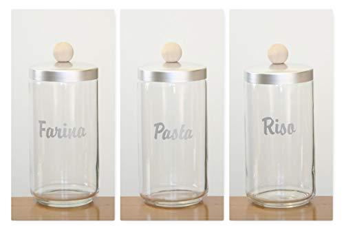 OTTINETTI Vorratsdosen aus Aluminium, Aufbewahrungsdosen aus Glas, Deckel aus Naturaluminium, Knauf aus Holz, hergestellt in Italien (Mehlpasta-Reis 1,5 l)