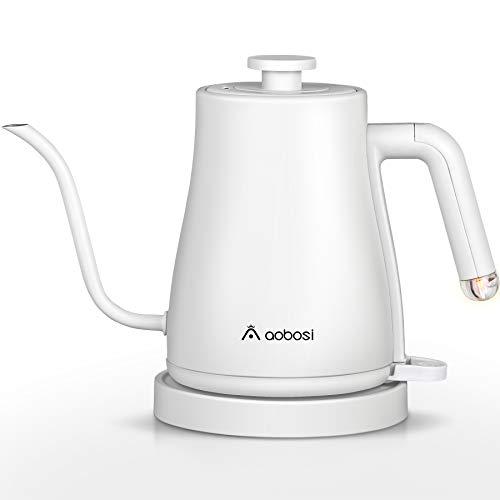 Aobosi Hervidor eléctrico de cuello de cisne con 5 ajustes preestablecidos, hervidor de café y hervidor de té, tapa interior y fondo de acero inoxidable, calentamiento rápido de 1000W, 1L, blanco