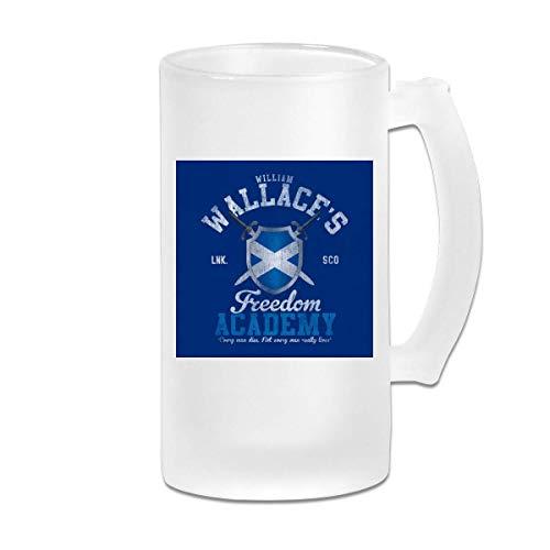 DJNGN Taza de jarra de cerveza de vidrio esmerilado de 16 oz impresa Braveheart William Wallace Freedom Academy - Taza gráfica