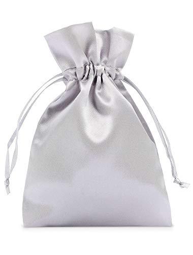 10 bolsas de satén con cordón para cerrar, tamaño 40x30 cm, bolsita de satén, envoltorio elegante para regalos, joyas, navidad, cumpleaños y bautizos (plateado)