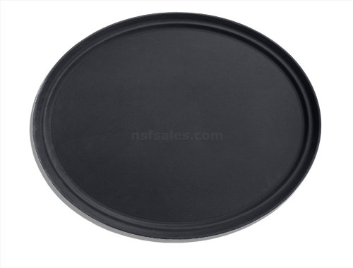 New Star Foodservice 25590 Non-Slip Tray, Plastic, Rubber Lined, Oval, 24 x 29-Inch (Large), Black, Pack of 6