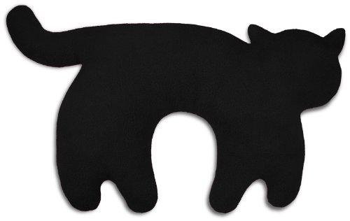 Leschi REISEKISSEN für erholsamen Schlaf in Auto, Flugzeug und Camping-Bett/Reisegeschenk für Kinder und Erwachsene/waschbares Nackenkissen/Katze Feline, schwarz