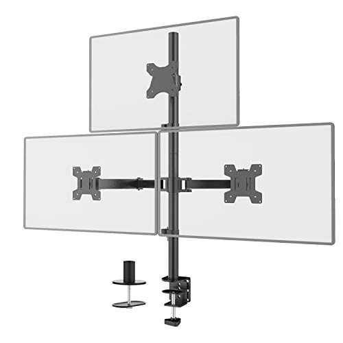 WALI Triple LCD Monitor Desk Mount Fully Adjustable Stand Fits 3 Screens up to 27 inch, 22 lbs. Weight Capacity per Arm (M003), Black