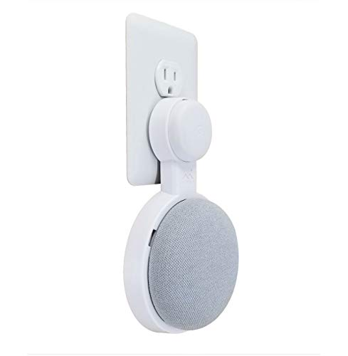 The Mini Genie for Google Nest Mini (2nd Gen) | Multi-Pack Disc. | Lowest Profile | No Ugly Bulk | Vertical or Horizontal | Outlet Wall Mount Hanger Stand (White, 1-Pack)