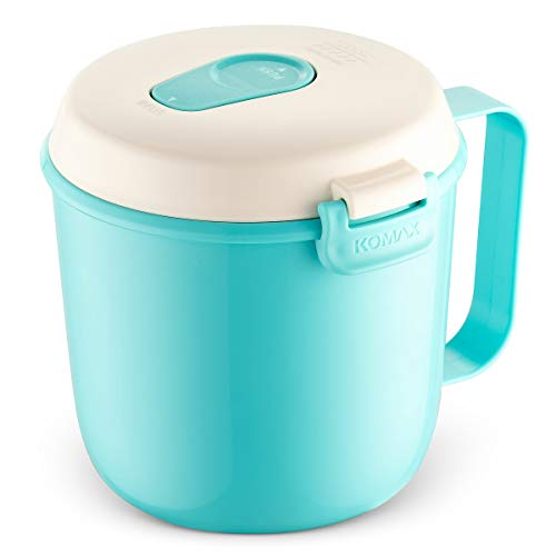 Komax Microwavable Soup Mug With Steam Hole, 27oz - BPA Free, Dual Snap Lock Lid, Carrying Handle - Safe up to 284° F. - Dishwasher and Freezer Safe - Bonus Recipe Book