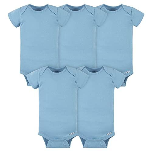 Gerber Baby 5-pack Solid Onesies Bodysuits, Blue, 0-3 Months