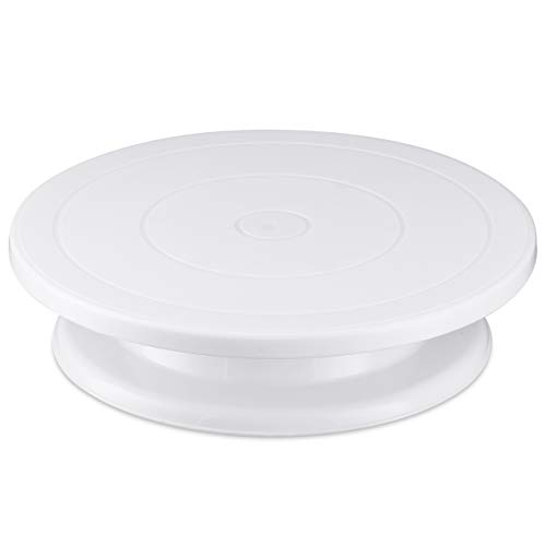 Kootek 11 Inch Rotating Cake Turntable, Turns Smoothly Revolving Cake Stand Cake Decorating Kit Display Stand Baking Tools Accessories Supplies for Cookies Cupcake (White)