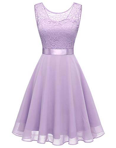 BeryLove Damen Spitzenkleid Brautjungfer Elegant Party Knielang Cocktailkleid Chiffon Ärmellos BLP7005B-LavenderS