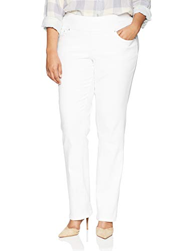 Jag Jeans Women's Plus Size Peri Pull On Straight Leg Jean, White Denim, 16W